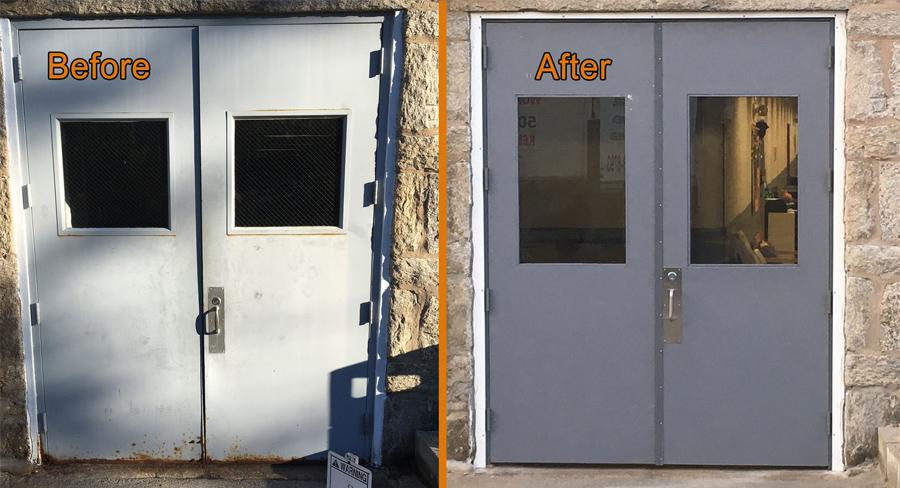 Commercial Grade Exterior Steel Doors : New install commercial grade high traffic doors in sutton