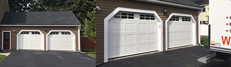 & New garage doors with ribbed short panel design
